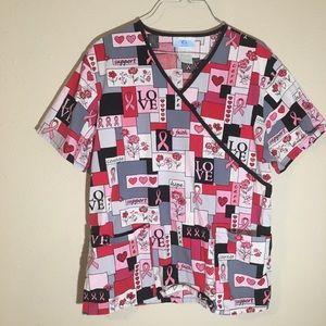 SB Scrubs Pink Breast Cancer Ribbon Scrub Top M